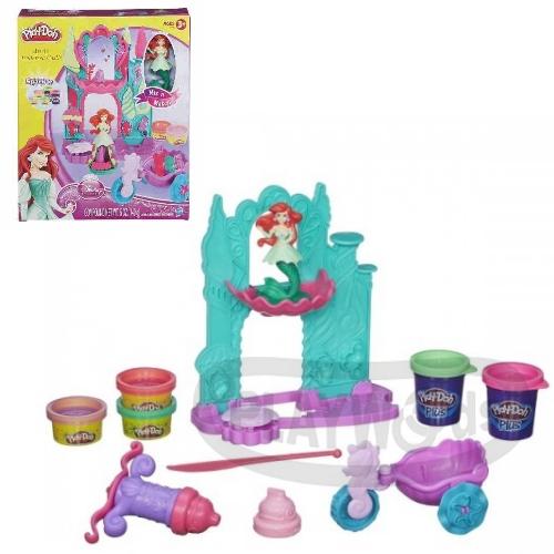 【Playwoods】[培樂多黏土PLAYDOH]迪士尼小美人魚海底城堡遊戲組Ariel's Undersea Castle(艾莉兒/迪士尼公主系列/Disney/安全無毒/DIY/安全/幼兒玩具/益智/孩之寶Hasbro)
