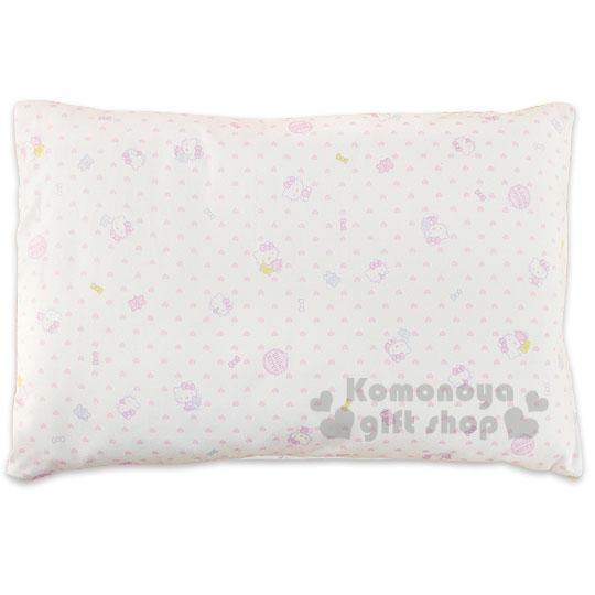 〔小禮堂嬰幼館〕台灣 佳美 Hello Kitty 寶寶枕頭《白.多動作.愛心滿版》中凹型