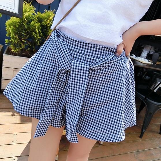 PS Mall 韓版學院風打結棉布格子休閒半身裙高腰A字短裙【T1853】