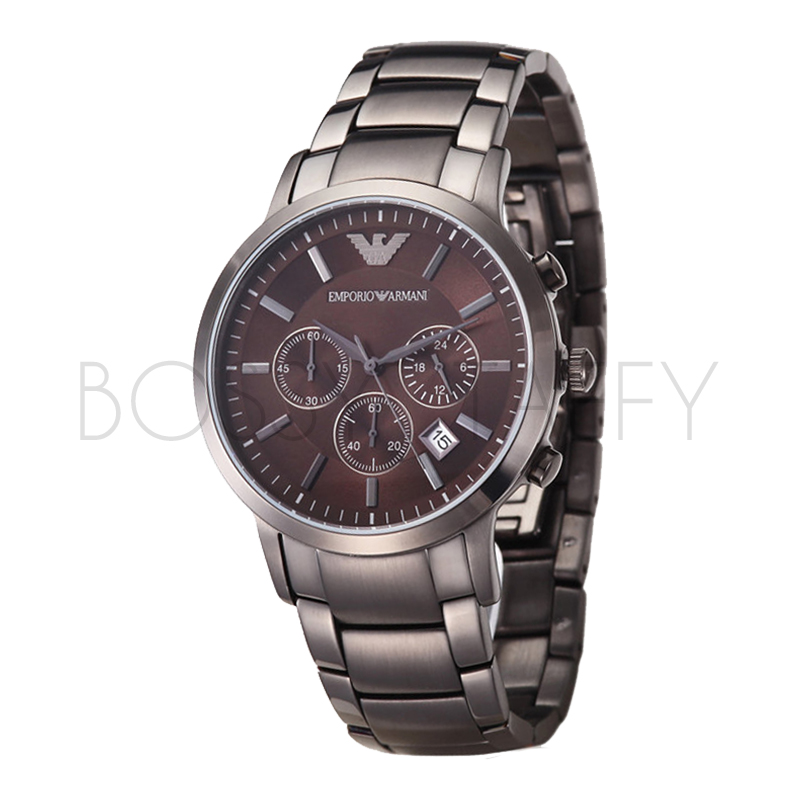 AR2454 ARMANI 亞曼尼 時尚型男簡約棕色鋼帶三眼石錶 男錶
