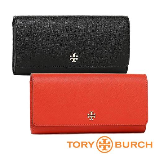 【Tory Burch】信封式壓釦長夾(黑/紅)
