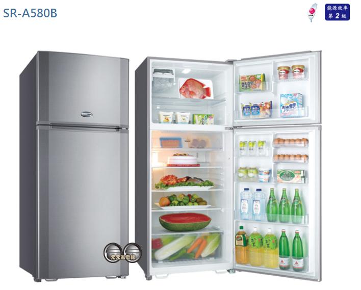 【SANLUX 台灣三洋】580公升雙門定頻電冰箱 SR-A580B~限區配送+基本安裝