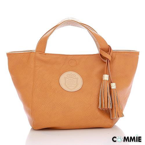 寶貝窩 【CM4601】日韓Mink學院風簡約素面質感皮革皇家盾牌流蘇兩用手提包