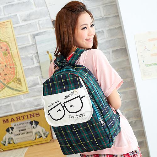 寶貝窩 Loveliness【FH28715】日系人氣超Q可愛卡通眼鏡BOY格紋後背包