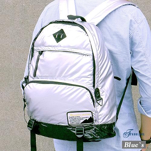 寶貝窩 Blue`s【FZ71355】耀眼亮皮防水高質感羽絨豬鼻子學院後背包