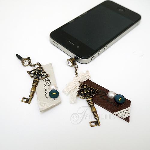 寶貝窩 Perhaps【KL01003】格林童話系列皮革鑲鑽復古鑰匙耳機塞 iphone 三星 HTC 3.5mm耳機防塵塞