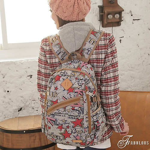 寶貝窩  Attractive【LA1986】日系元氣普普學院風豬鼻子斜拉鍊混搭塗鴉後背包