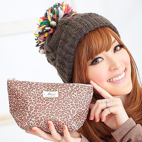 寶貝窩 Flavor【MI0511B】韓國直送早秋新款時尚甜美蜜斑豹紋化妝包