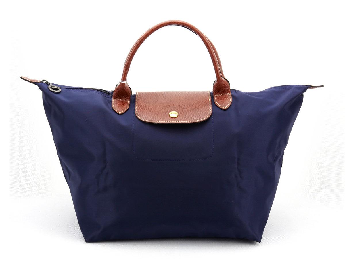 [1623-M號]國外Outlet代購正品 法國巴黎 Longchamp  短柄 購物袋防水尼龍手提肩背水餃包 海軍藍