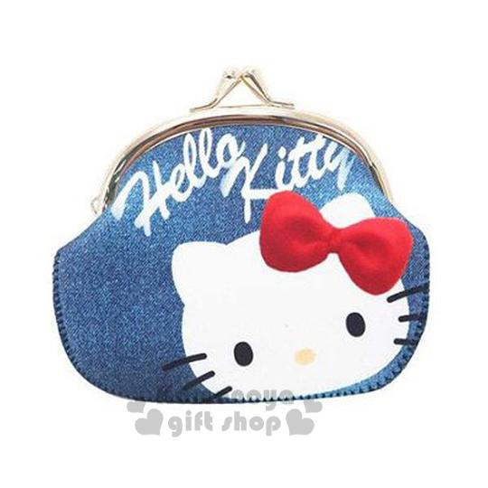 〔小禮堂〕Hello Kitty 潛水布口金零錢包《L.牛仔布.大臉》可愛又實用