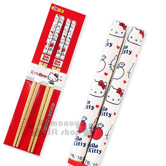 〔小禮堂〕Hello Kitty 料理竹筷組《兩雙入.蘋果.大臉滿版》前端止滑設計