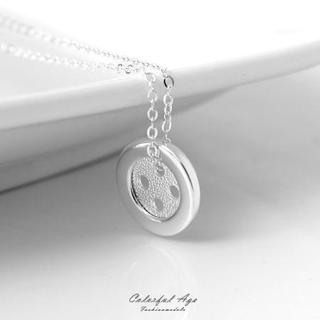 925純銀項鍊 幸運鈕扣造型鎖骨鍊頸鍊 可愛甜美質感典雅 柒彩年代【NPB59】抗過敏設計