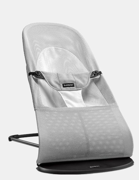 【淘氣寶寶】BabyBjorn Bouncer Balance Soft 柔軟彈彈椅-透氣/淺灰 【彈彈椅自然擺動不需使用電池/符合人體工學】【正品】