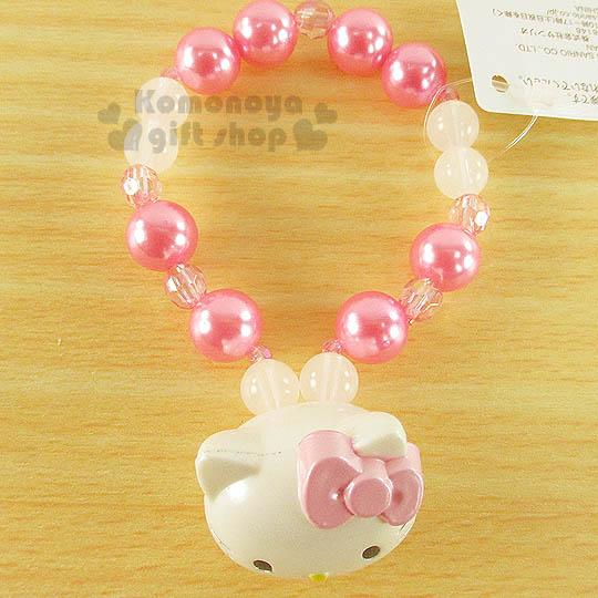〔小禮堂〕Hello Kitty 造型珍珠手環《粉白.立體大臉.粉蝴蝶結》