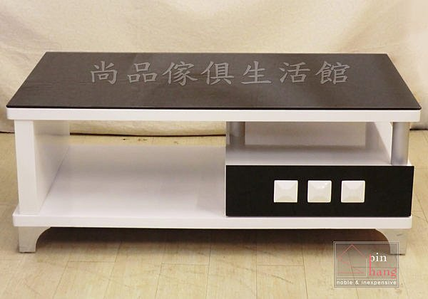 【尚品家具】 429-06 查克 黑玻4.3尺白色大茶几/客廳桌/長几