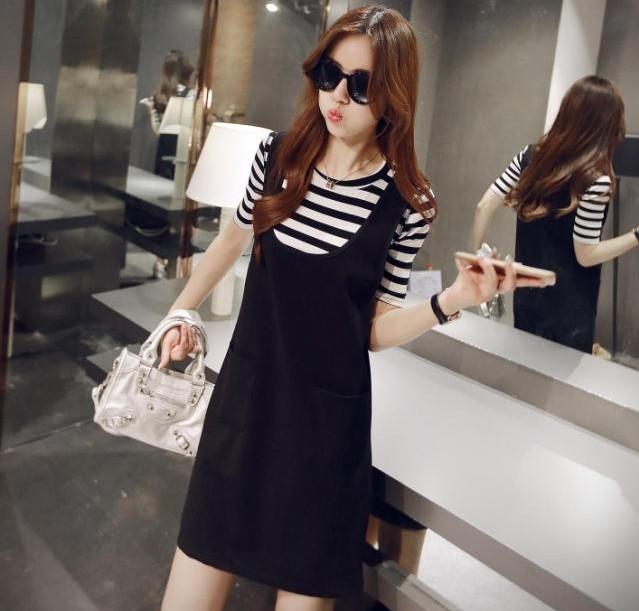 洋裝【心齋橋】韓版新款兩件式背帶裙+條紋中袖T恤連身裙套裝FAN2215(現+預)