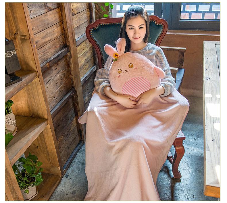 兔子熊兩用冷氣毯抱枕
