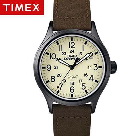 TIMEX天美時腕錶 INDIGLO冷光遠征系列Expedition咖啡皮革手錶 柒彩年代【NE1668】原廠公司貨
