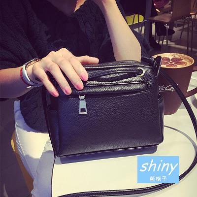 【P094】shiny藍格子-歐美范兒.新款簡約單肩斜挎小方手提包