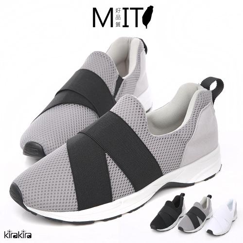 休閒鞋 MIT韓系透氣網交叉繃帶懶人休閒鞋【011600228】
