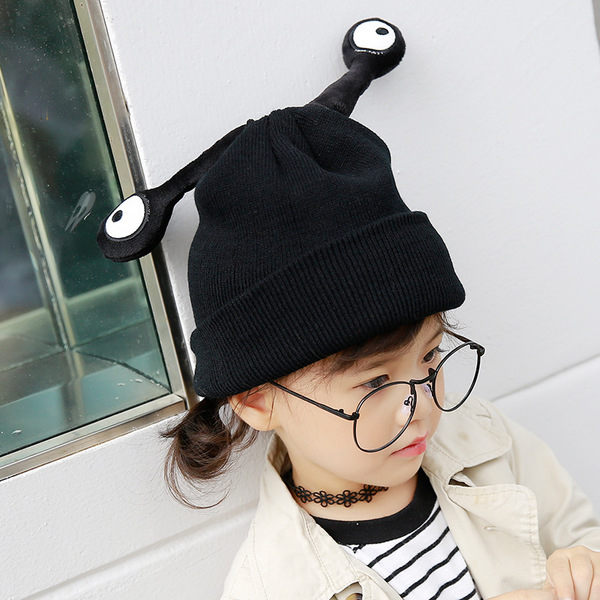 PS Mall 兒童搞怪眼睛毛線帽 可愛冬天毛帽【J1399】