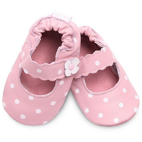 【HELLA 媽咪寶貝】英國 shooshoos 安全無毒真皮手工鞋/學步鞋/嬰兒鞋_淡粉小花點點(公司貨)