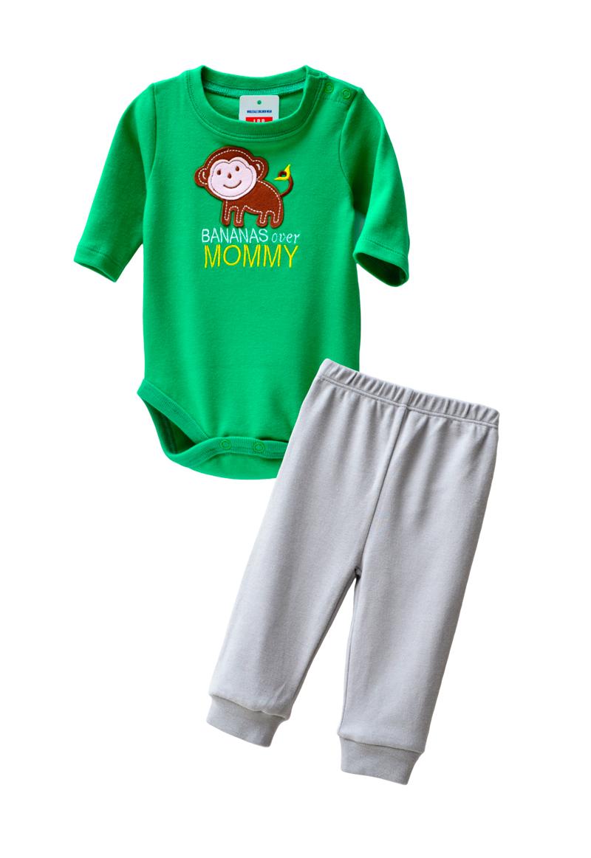 ☆傑媽童裝☆LBB純棉包屁衣+長褲套裝組(94777-B綠衣灰褲)