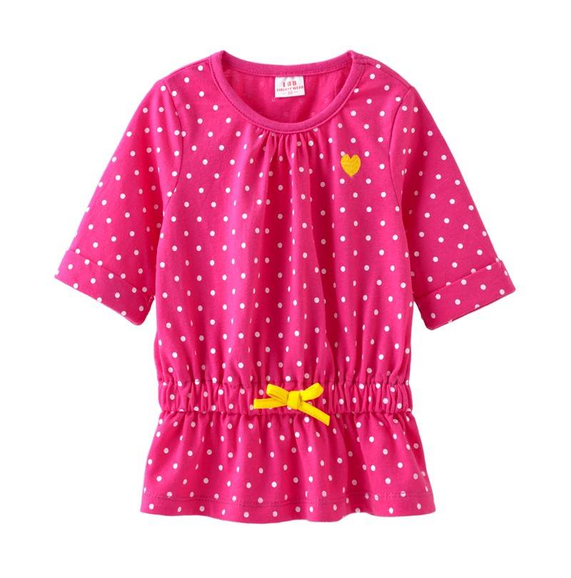 ☆傑媽童裝☆LBB小女生腰間蝴蝶結七分袖上衣(31818-2深粉點點)