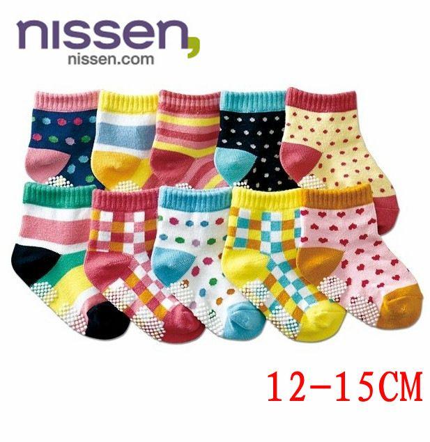 ☆傑媽童裝☆日單彩色方塊點點小童防滑襪,不挑色隨機出【C06】