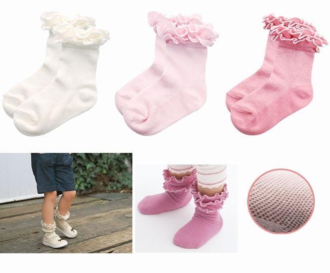 ☆傑媽童裝☆日單網眼素色公主花邊襪,3色可選【C07】