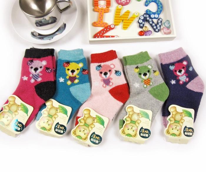 ☆傑媽童裝☆彩邊小熊冬季兔羊毛襪【C05】