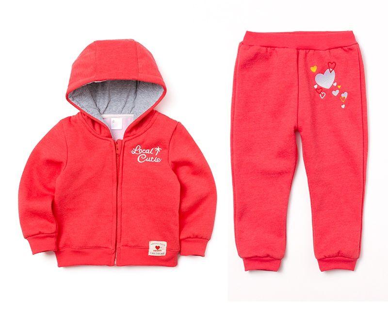 ☆傑媽童裝☆小女生愛心繡花刷毛外套+長褲套裝組-大紅色【14971-1】