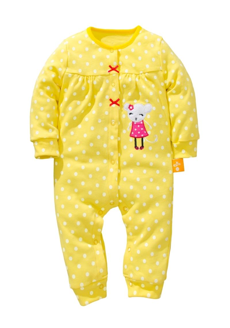 ☆傑媽童裝☆小女生點點系列雙層綿長袖連身衣-黃色【17967-2】