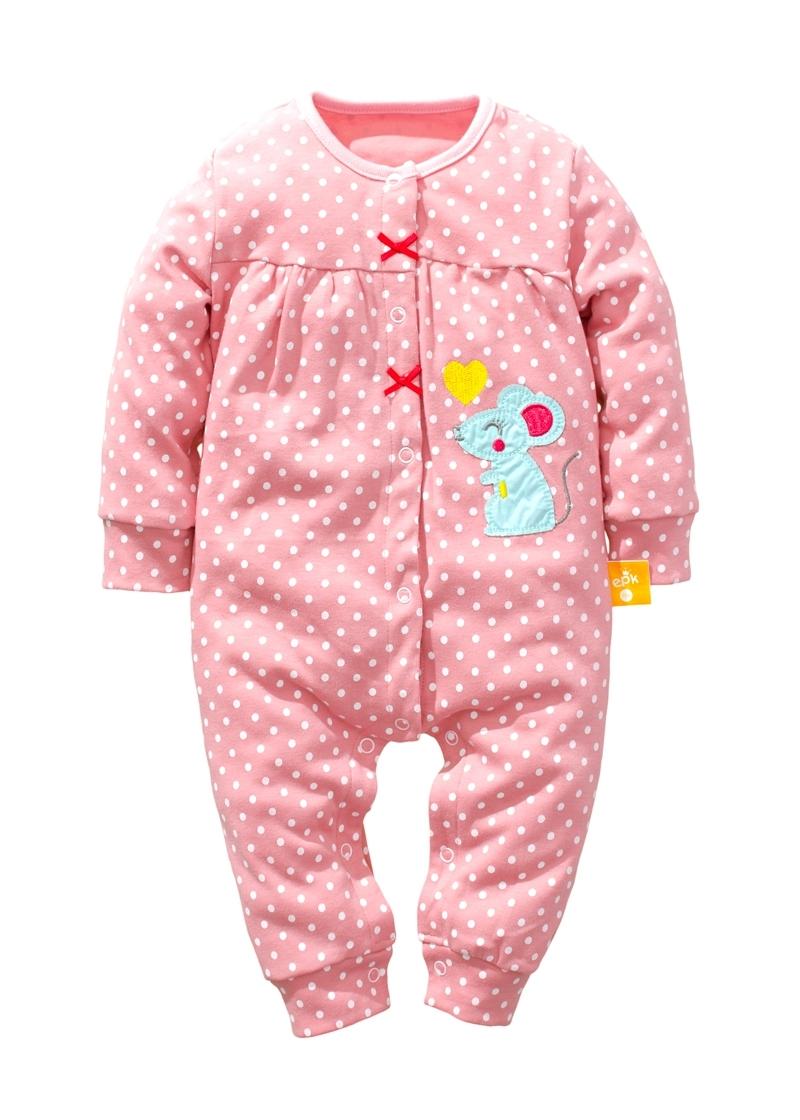 ☆傑媽童裝☆小女生點點系列雙層綿長袖連身衣-粉色【17967-3】