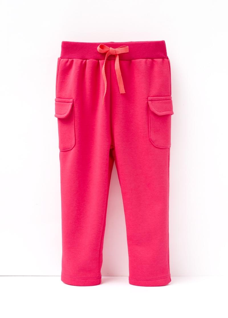 ☆傑媽童裝☆雙口袋冬季保暖刷毛長褲-桃紅色【27975-2】