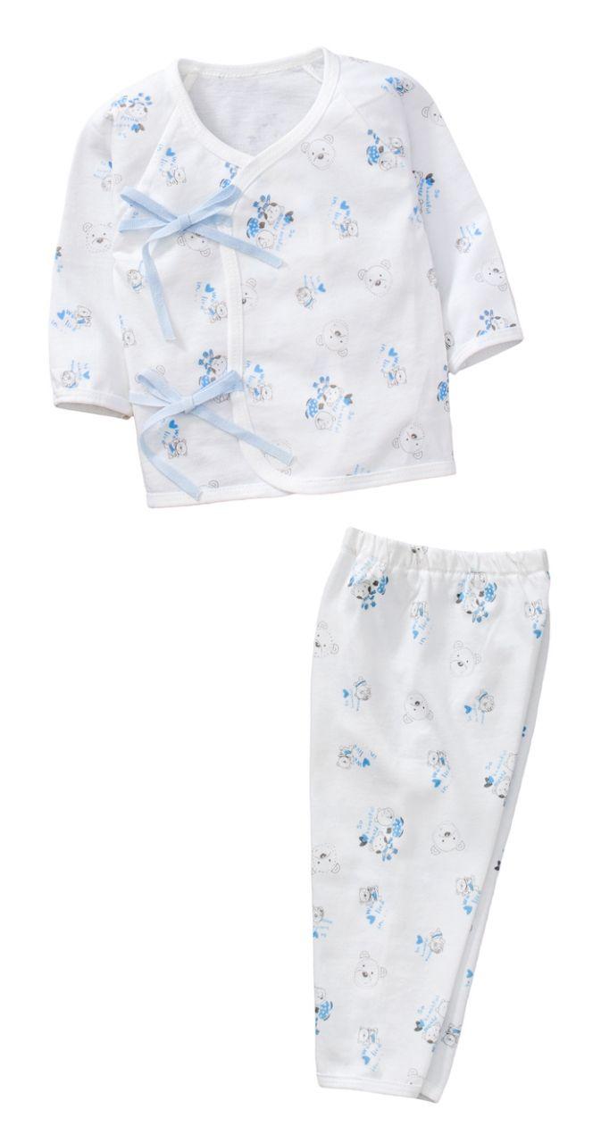 ☆傑媽童裝☆純棉小寶寶白底側開上衣+長褲套裝組-藍色【60002-3】