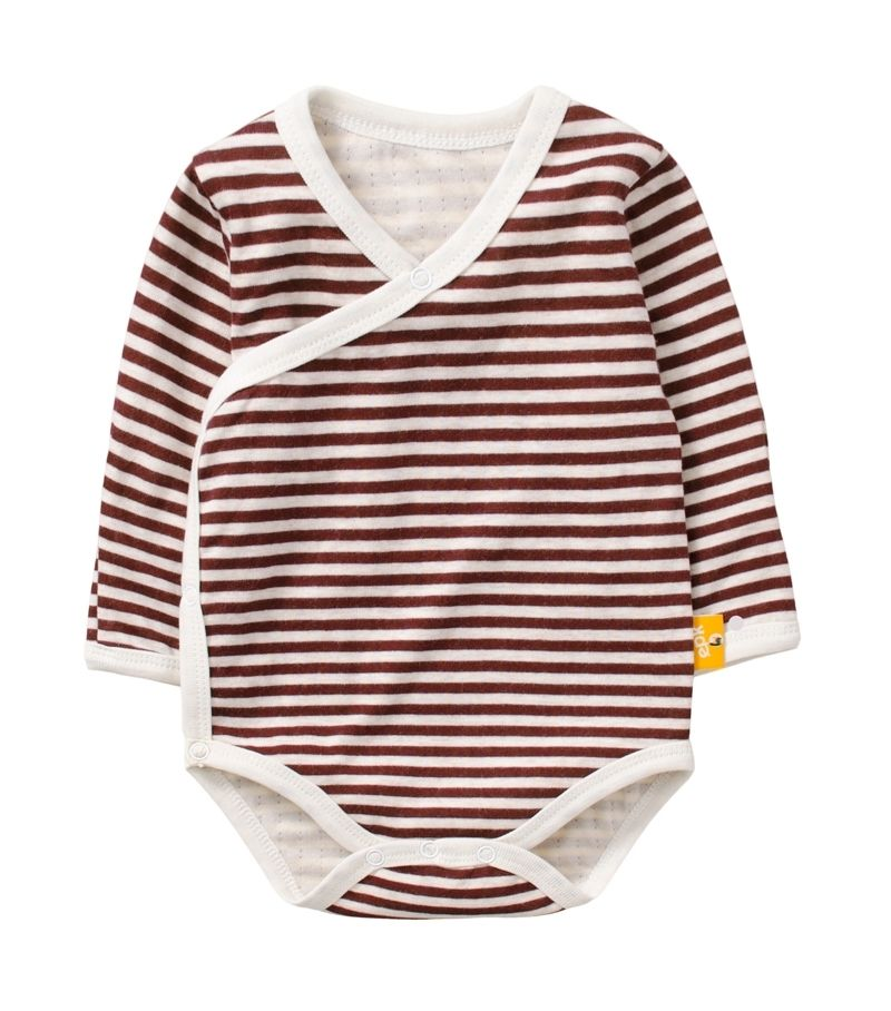 ☆傑媽童裝☆雙層純棉和風系列側開長袖包屁衣-咖啡條【77991-1】