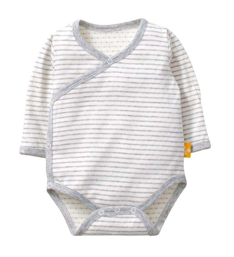 ☆傑媽童裝☆雙層純棉和風系列側開長袖包屁衣-灰條【77991-2】