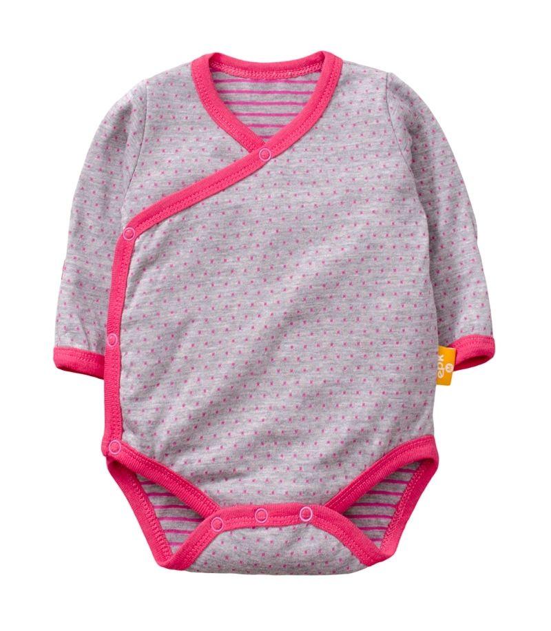 ☆傑媽童裝☆雙層純棉和風系列側開長袖包屁衣-灰底粉點【77991-3】