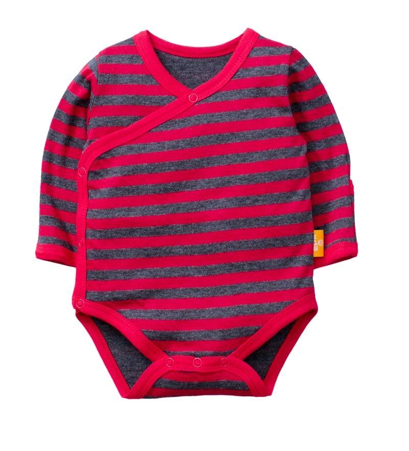 ☆傑媽童裝☆雙層純棉和風系列側開長袖包屁衣-紅黑條【77991-7】