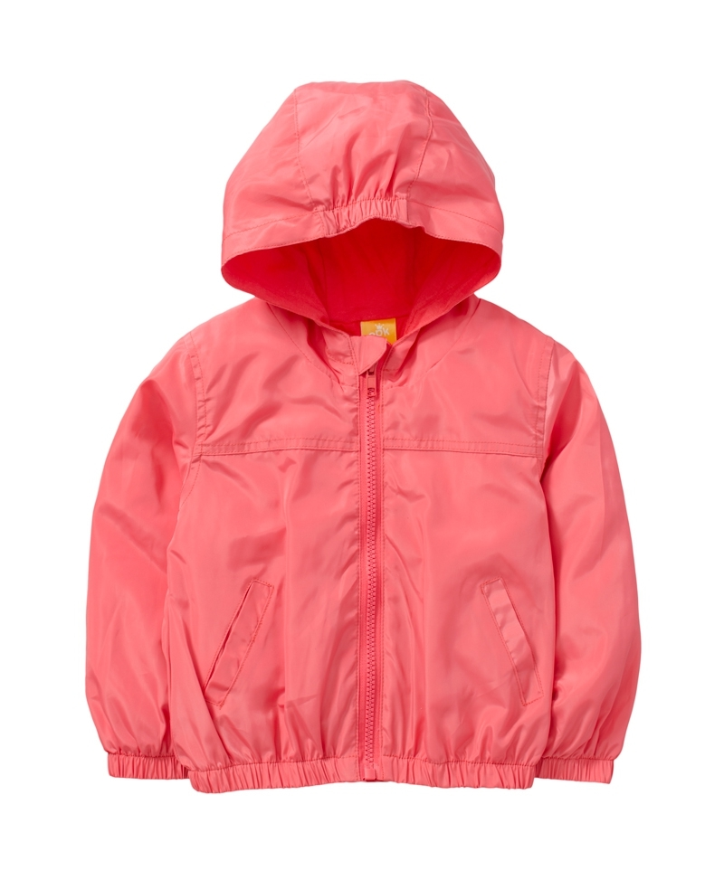 ☆傑媽童裝☆防水防風糖果色有帽外套-橘粉色【84981-1】