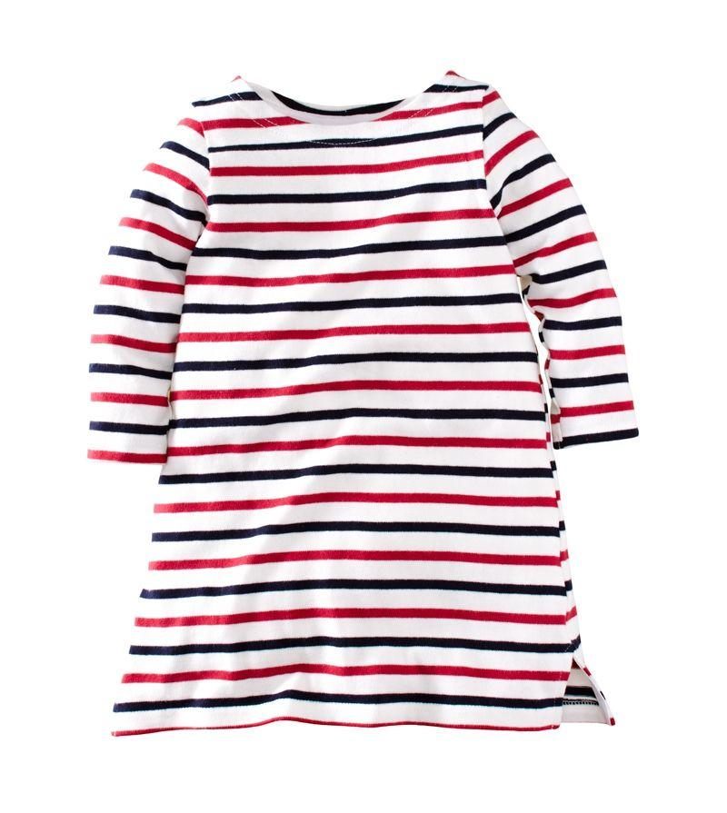 ☆傑媽童裝☆女童新疆厚棉條紋七分袖休閒洋裝/長版上衣-藍紅條【97953-1】