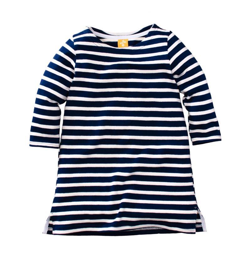 ☆傑媽童裝☆女童新疆厚棉條紋七分袖休閒洋裝/長版上衣-藍白條【97953-2】