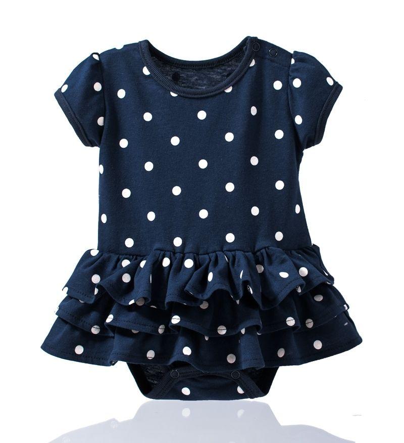 ☆傑媽童裝☆公主袖純棉點點裙式連身衣-深藍【34022-1】