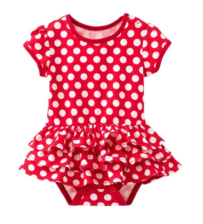 ☆傑媽童裝☆公主袖純棉點點裙式連身衣-大紅【34022-2】