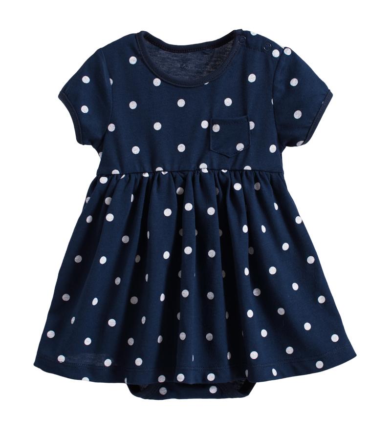 ☆傑媽童裝☆純棉深藍點點口袋裙式連身衣【20062】