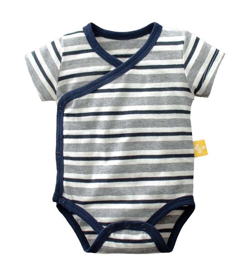 ☆傑媽童裝☆純棉條紋點點側開短袖包屁衣-藍灰條【40029-3】