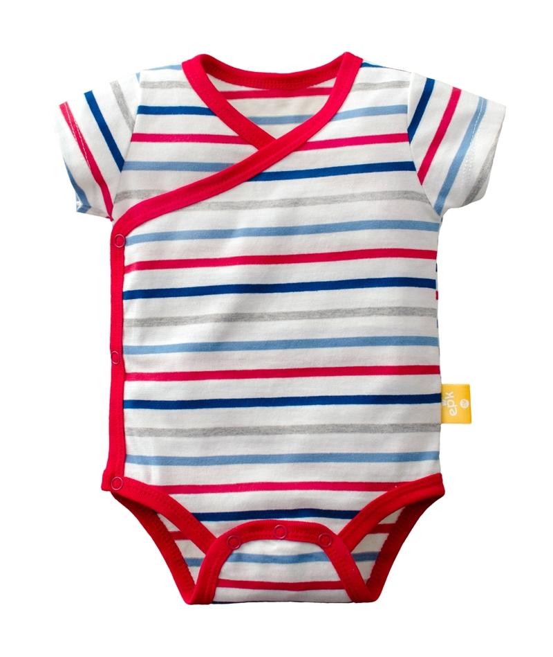 ☆傑媽童裝☆純棉條紋點點側開短袖包屁衣-紅藍條【40029-4】