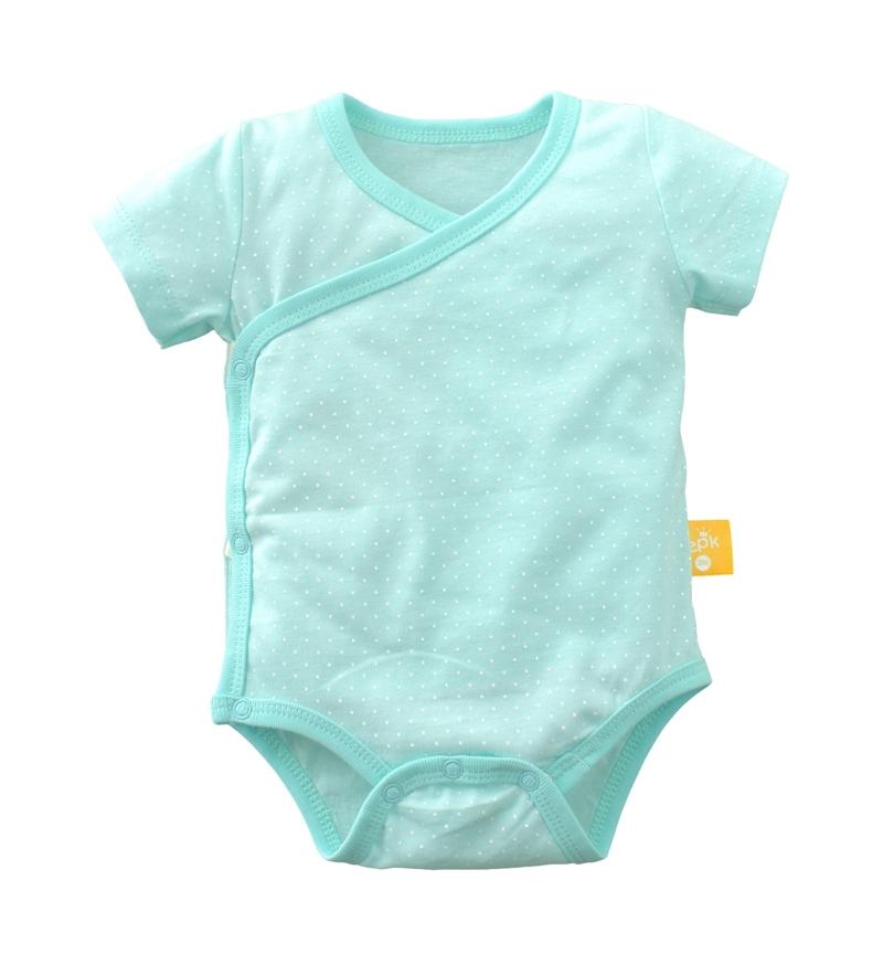 ☆傑媽童裝☆純棉條紋點點側開短袖包屁衣-綠底白點【40029-5】
