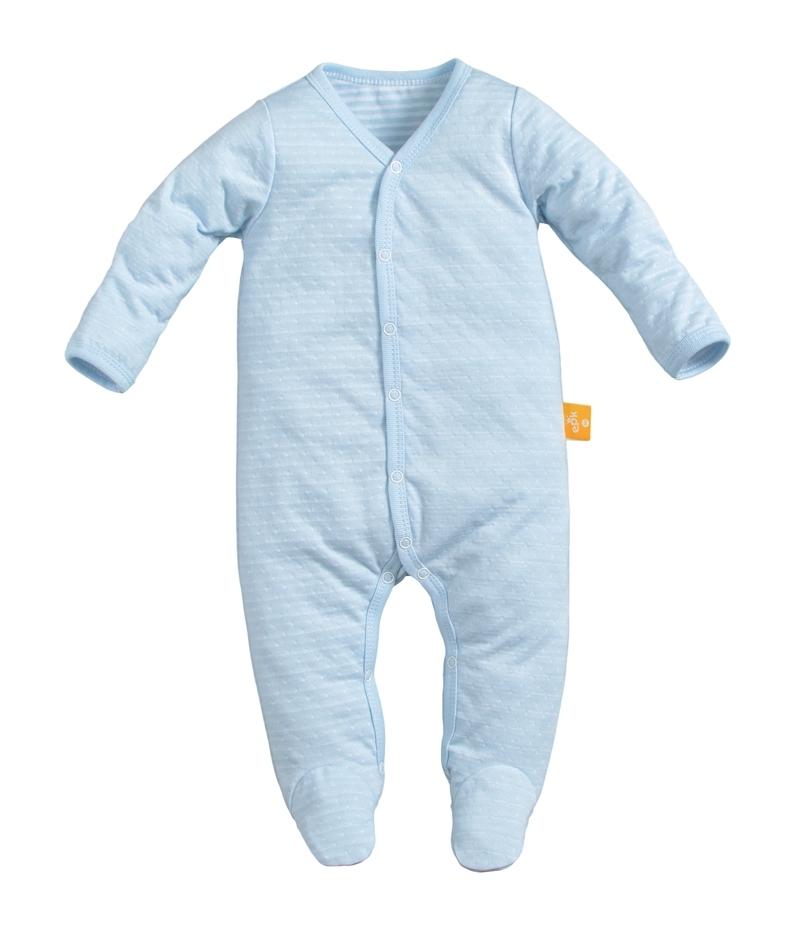 ☆傑媽童裝☆純棉網眼前開長袖包腳連身衣-藍底點點【41044-2】